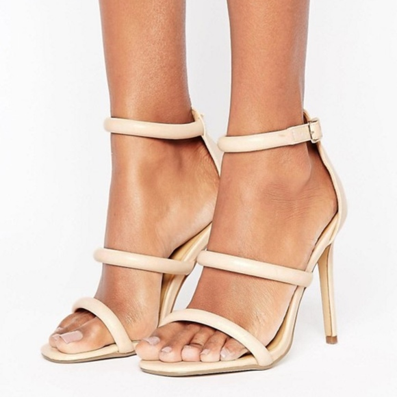 23e93fb368a1 Nude Rounded Three Strap Barely There Heels. NWT. Missguided